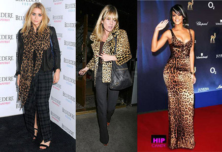 The leopard print trend worn by Kate Moss, Ashley Olsen, and Rihanna
