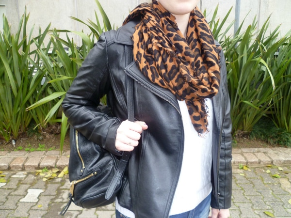 leopard scarf and leather jacket