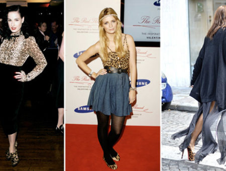 The leopard print shoes trend seen on Dita Von Teese, Mischa Barton, and a model at Fashion Week