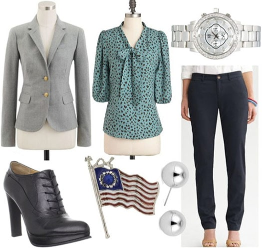 Fashion inspired by Leslie Knope from Parks and Recreation: Grey blazer, bow blouse, trousers, stud earrings, watch, high-heel oxfords, pin