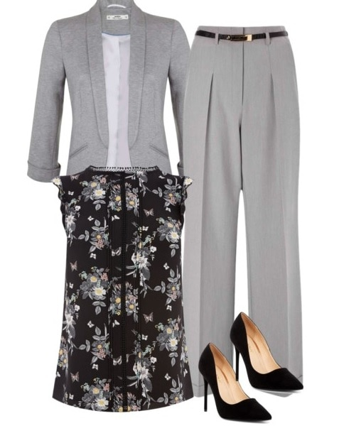 Best fictional female role models for college women: Leslie Knope. Outfit inspired by Leslie with gray pantsuit, black pointed toe heels, floral blouse in black