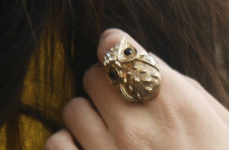 Owl ring on a college fashionista at Northern Arizona University