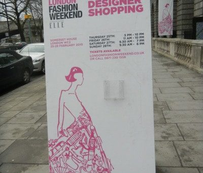 London Fashion Weekend sign