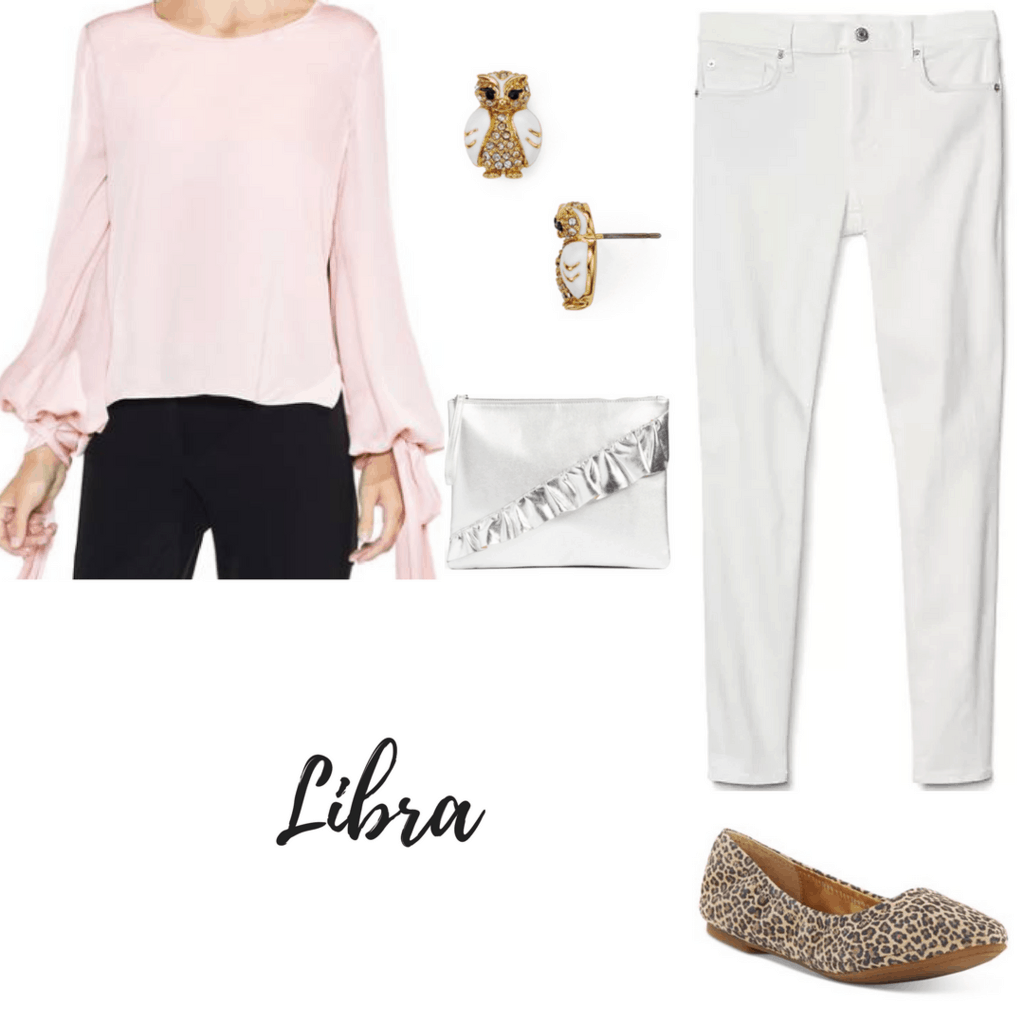 libra outfit pink blouse owl earrings ruffled clutch white jeans leopard flats