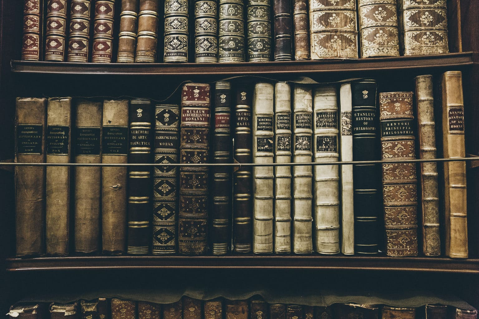 A library shelf full of old, elaborately decorative books