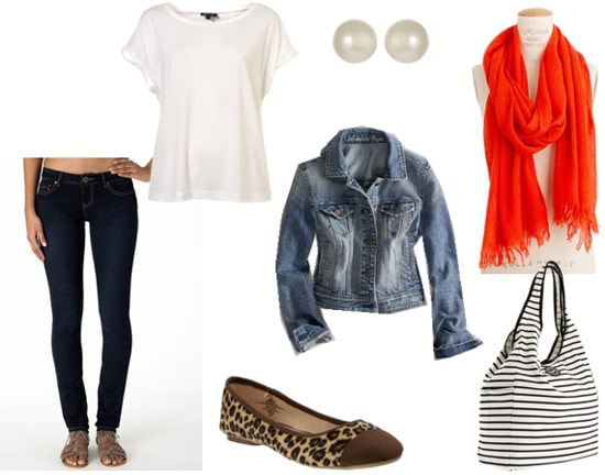 Library outfit 2: Jeggings, loose tee, jean jacket, statement scarf, leopard flats
