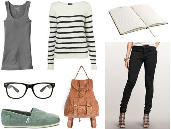Library outfit 3: Skinny pants, striped sweater, layering tank, green TOMS, backpack