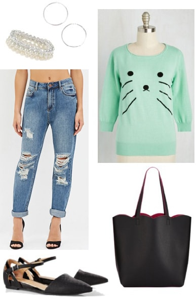 Library outfit idea: Animal shirt, boyfriend jeans, tote, cute jewelry
