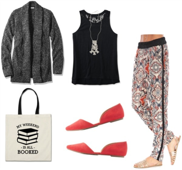 Oufit for the library with printed pants