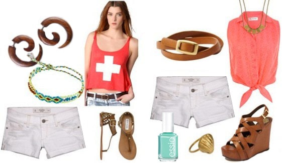 Lifeguard-inspired outfits: White shorts, sandals, bracelets, lifeguard tee, or white shorts, blouse, belt, statement accessories and nail polish