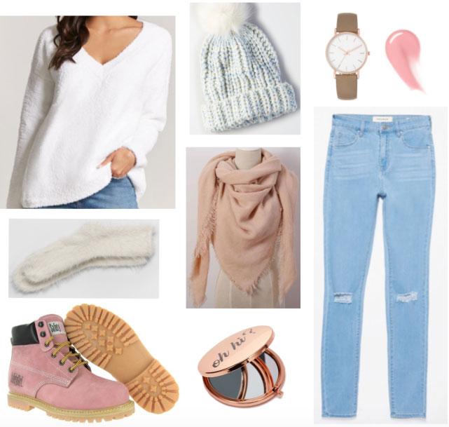 Casual outfit including AE light blue beanie, ripped skinny jeans and fuzzy sweater + socks.