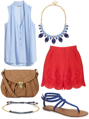 Light blue blouse, red shorts, blue sandals