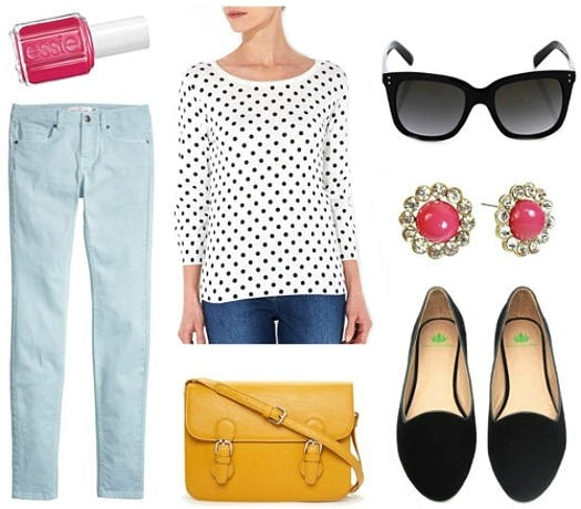 Light blue jeans polka dot top loafers Essie nail polish