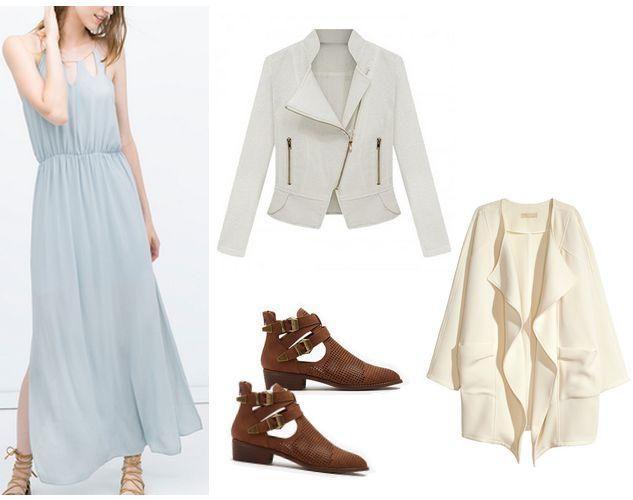 light blue maxi dress, jacket, and boooties