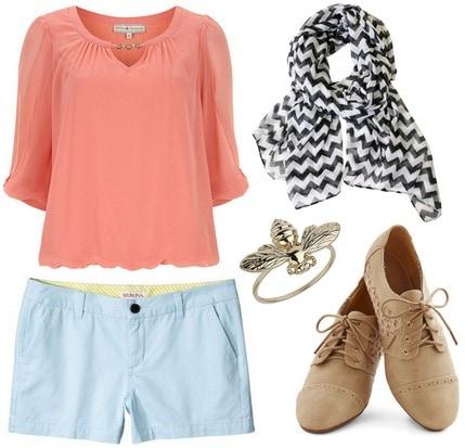 Light blue shorts, coral top, chevron scarf, oxfords