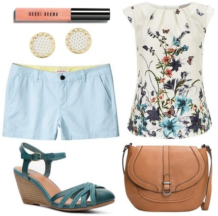 Light blue shorts, printed top, teal wedge sandals