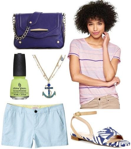 Light blue shorts, stripe tee, sandals