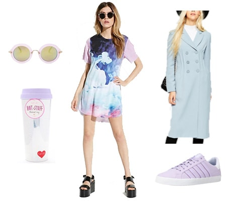 Abstract pastel sneaker outfit