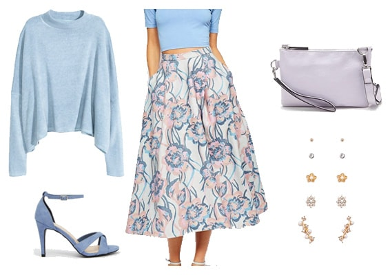 Pastel sweater outfit with floral skirt