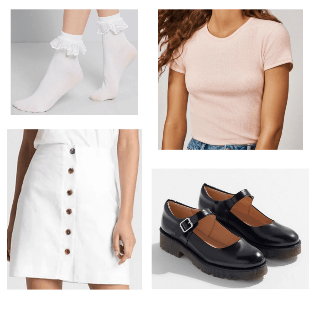 Light pink crop top with white button down skirt, white ankle socks and black mary jane shoes