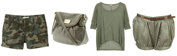 Light army green clothing and accessories