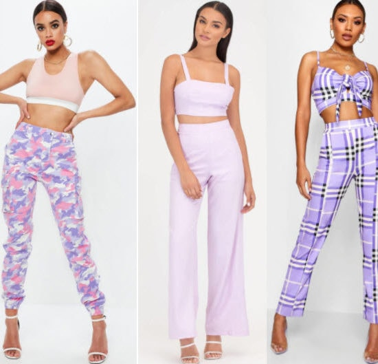 Lilac pants style with camo lilac pants, lilac flare pants, and lilac checker pants.