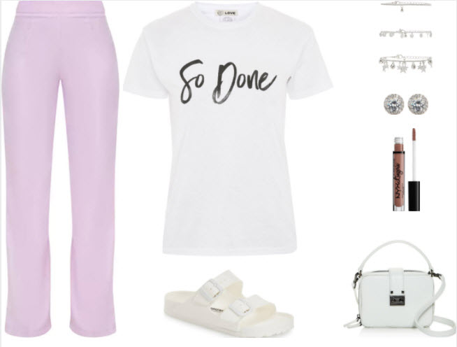 Lilac pants style for class with white