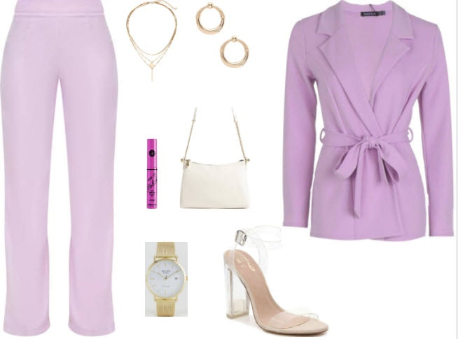 Lilac pants style with lilac top, white purse, clear strap heels, pink lipstick, gold watch, gold necklace, and gold hoop earrings.