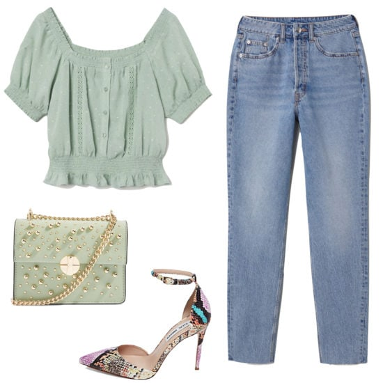 Lili Reinhart Outfit: mint green button front square neck short sleeve blouse, high rise mom jeans, green chain link bag, multicolor snake print pointy toe pumps