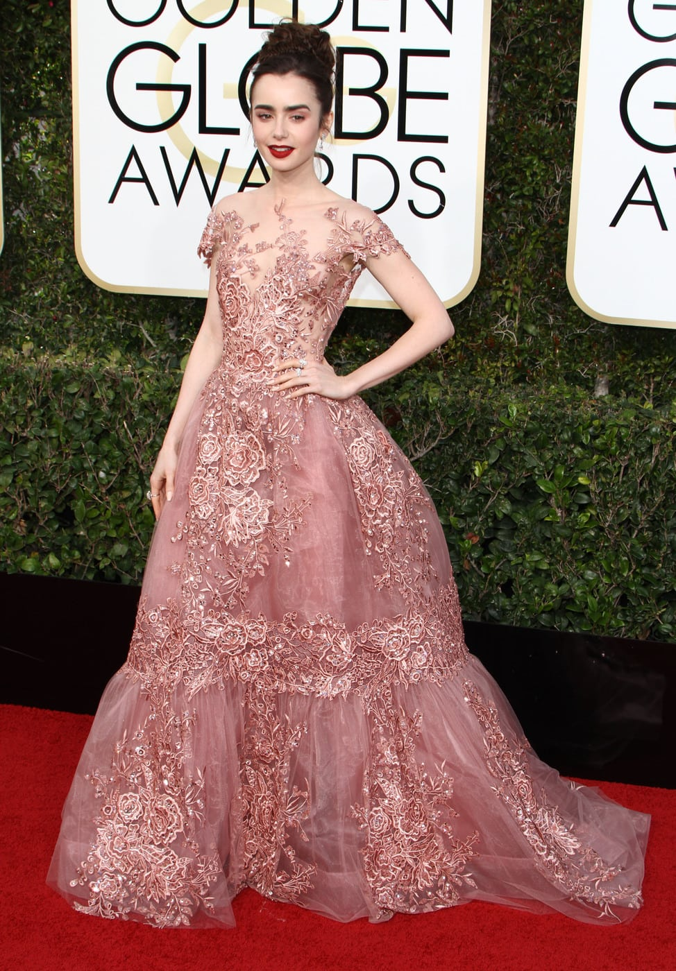 Lily Collins in a pink Zuhair Murad Couture gown on the 2017 Golden Globes red carpet