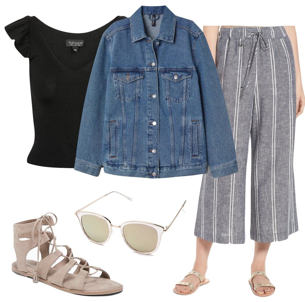 Lily Collins Outfit: blue striped culottes, black frill shoulder top, denim jacket, mirrored sunglasses, and nude lace-up gladiator sandals