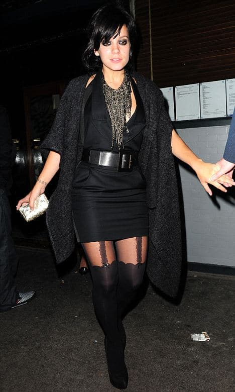 Lily Allen in Trompe l'oeil tights