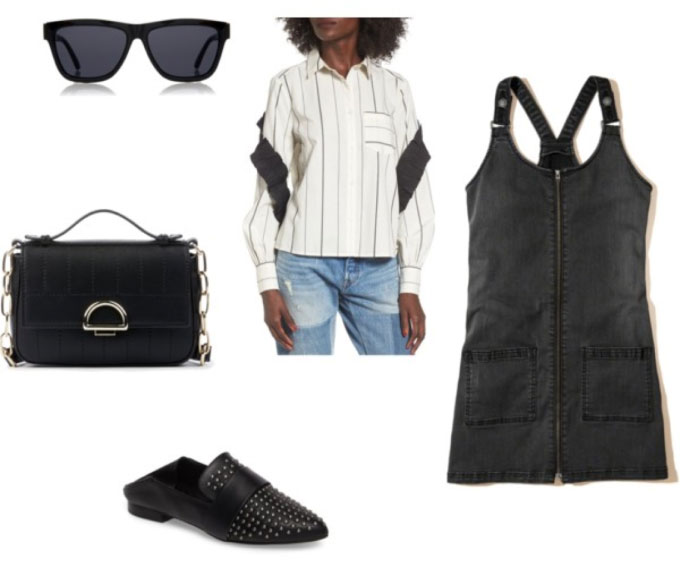 Outfit inspired by Lindsay Albanese: Black overall dress, striped shirt, studded black mules, chain strap bag, sunglasses