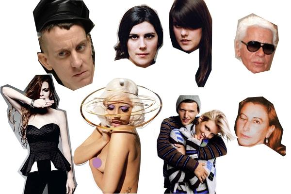 Lindsay Lohan, Jeremy Scott, Lady Gaga, Kate & Laura Mulleavy, Karl Lagerfeld, Miuccia Prada