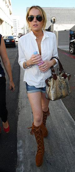 Lindsay Lohan wearing a basic white shirt