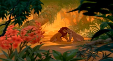 Adult Simba and Nala in Disney's The Lion King