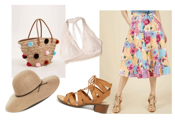 Outfit inspired by Lisa from the movie girls trip: Floral midi skirt, lace bralette, oversized sun hat, pom pom tote bag, strappy sandals