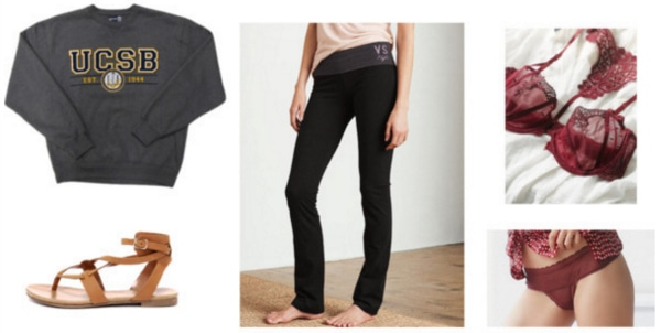 Cute loungewear outfit for around the dorm - sweats, yoga pants, sandals, bralette