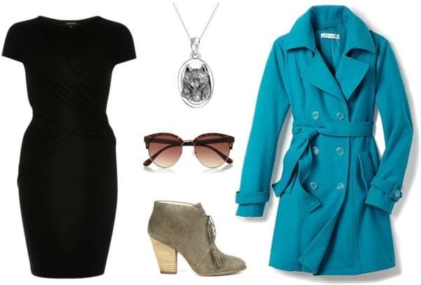 Outfit idea: Little black dress, teal trench, ankle booties, sunglasses