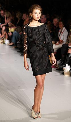 Woman wearing a little black dress