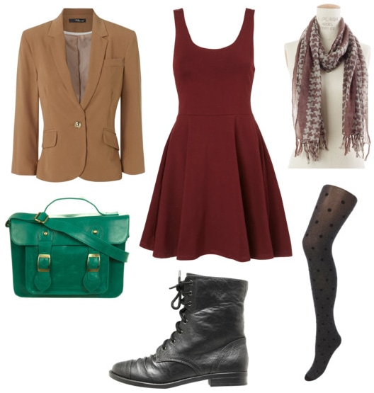 little red dress look for day with tan blazer emerald satchel black boots polkadot tights and patterned scarf