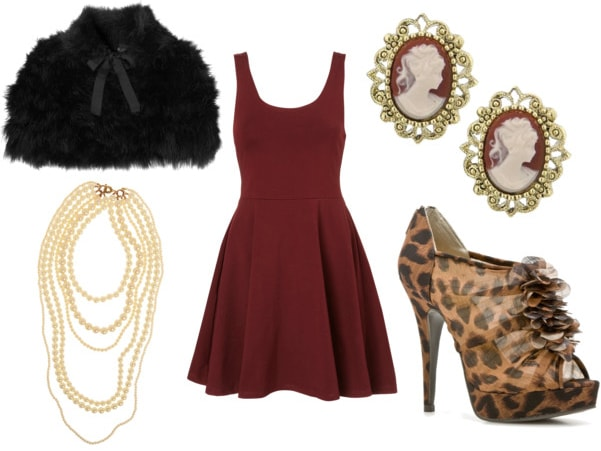 little red dress night outfit- black cape pearls cameo earrings leopard heels