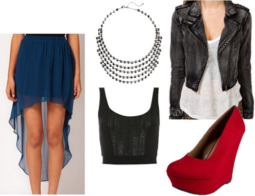Outfit for seeing live music: High-low skirt, red wedges, crop top tank, distressed jacket, statement necklace