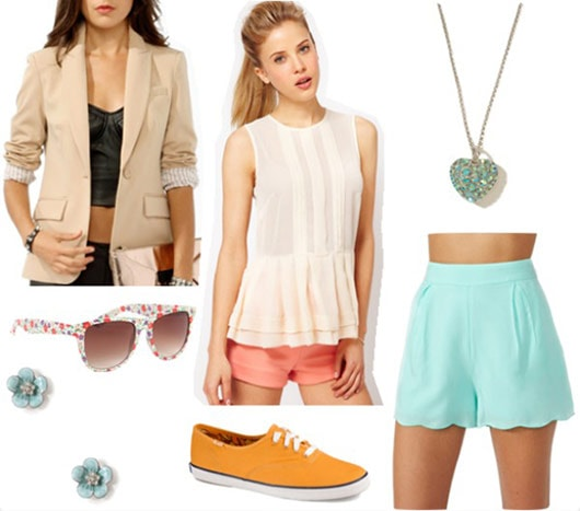Outfit inspired by One Direction's Live While We're Young: Aqua shorts, off white lace tank, beige blazer, heart necklace, patterned sunglasses, orange sneakers