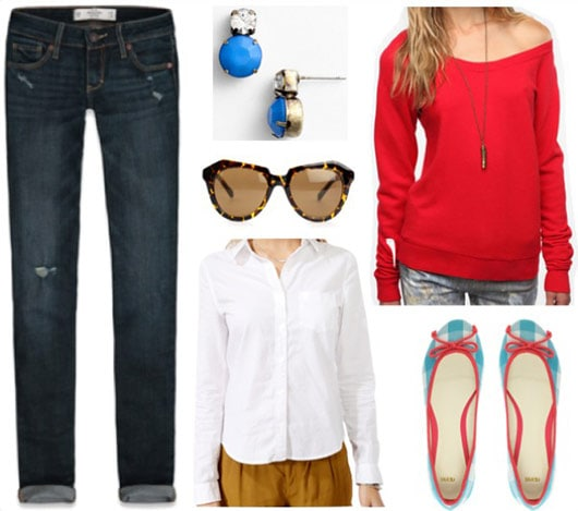 Outfit inspired by One Direction's Live While We're Young: Dark wash jeans, white button-down shirt, red pullover sweatshirt, cute flats