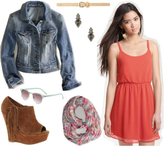 Outfit inspired by One Direction's Live While We're Young: Orange dress, denim jacket, suede wedges, patterned scarf, sunglasses, contrasting belt