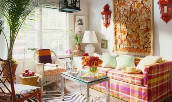 Living room with mixed prints