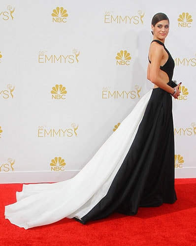 Lizzy Caplan in Donna Karan Atelier at the 2014 Emmy Awards