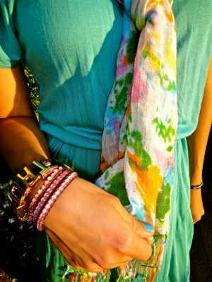 Fashion trends - floral scarf and layered bracelets