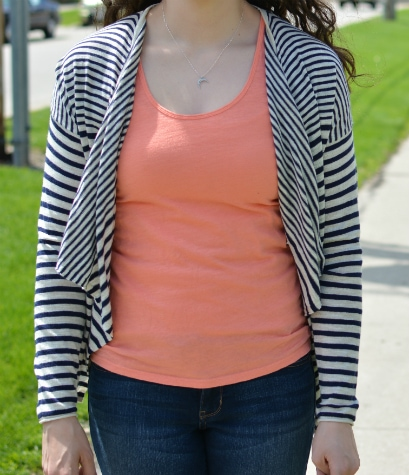striped cardigan and coral top